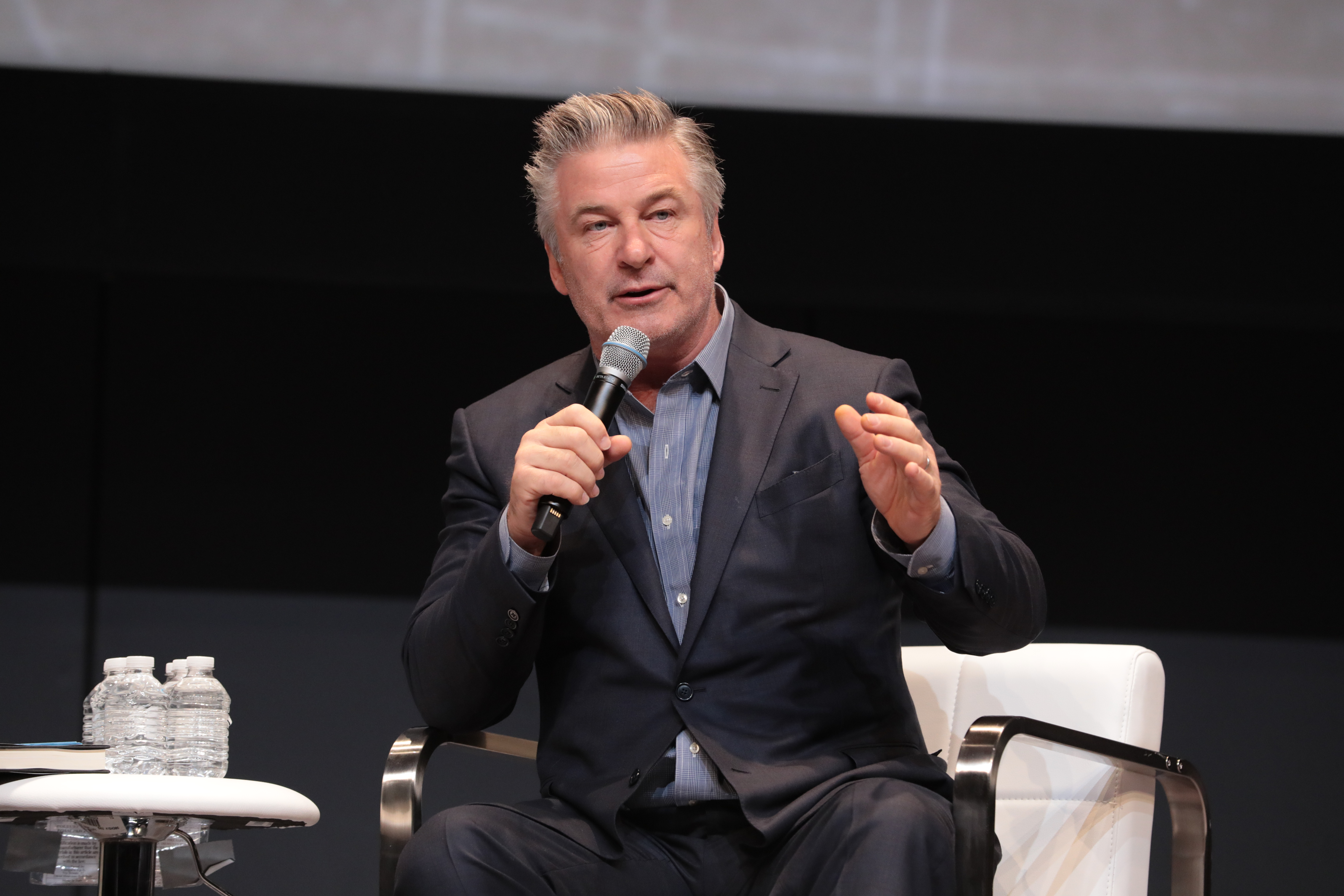 Alec Baldwin speaking at an event produced by massAV